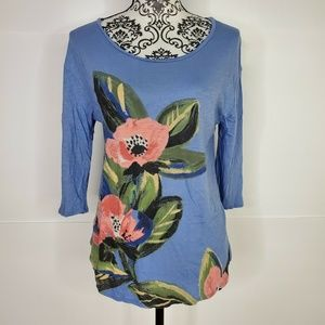 Lucky Brand Floral Blue Women's Scoop Neck Small